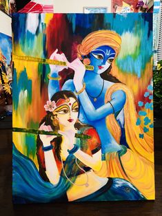 Excited to share this item from my shop: Radha Krishna eternal love Indian Art Paintings, Modern Art Paintings, Abstract Paintings, Oil Paintings, Abstract Oil, Landscape Paintings, Krishna Art, Krishna Images, Radha Krishna Paintings