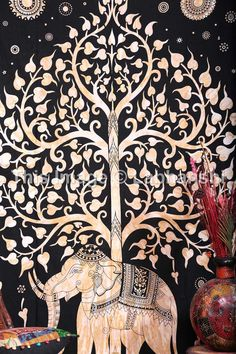 Elephant Tapestries Hippie Gypsy tapestry Tree Of by Labhanshi Curtain?