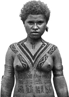 Tattooing among females of the Koita people of Papua New Guinea traditionally began at age five and was added to each year, with the V-shaped tattoo on the chest indicating that she had reached marriageable age, 1912.