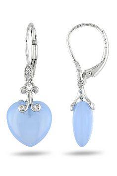 9.5 ct Blue Chalcedony & Diamond Earrings 10k Gold