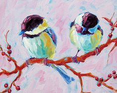 Chickadees, 10 x 10 x .75, oil, 2012 (ready to ship on 7/15/12)    • w w w . b e t s y m c le l l a n . c o m •    This is an original oil painting by Maine artist, Betsy McLellan. Colors are bright and bold, making it a great focal point in any room. It is painted on a gallery-wrapped canvas and signed by the artist. The sides are painted to compliment the art for instant hanging, or custom frame as desired.    • Please inquire about international shipping •    • Commission work is…