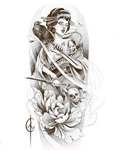 I incredibly fancy the tones, outlines, and depth. This is really a wonderful choice if you are looking for a Geisha Tattoos, Tatoo Geisha, Geisha Tattoo Design, Geisha Art, Tattoo Design Drawings, Tattoo Sketches, Geisha Tattoo Sleeve, Japanese Tattoo Art, Japanese Tattoo Designs