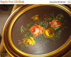 SUMMER SALE Beautiful Vintage Framed Rose by HitOrMissTreasures