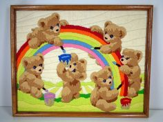 Finished Completed Long Stitch Teddy Bears Painting Rainbows Horizons Reinardy  #MonarchHorizons