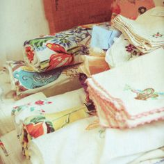 Vintage linens.  I'm always looking for calendar dishtowels, pretty tablecloths and nice napkins and bed linens hehehe