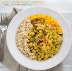Peanut-Ginger Curry Chickpeas over Fluffy Brown Rice
