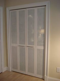 "This is plexi glass painted white on one side and fitted to replace the slats within a bifold door. As my bi-folds are solid panel, i would just glue them on and frame them with 1"" trim. Great illusion of frosted glass!"