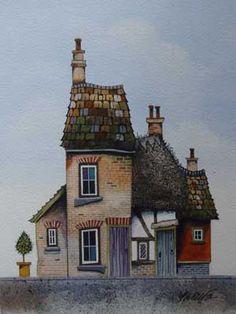 Gary Walton watercolour 'Rustic Cottages'