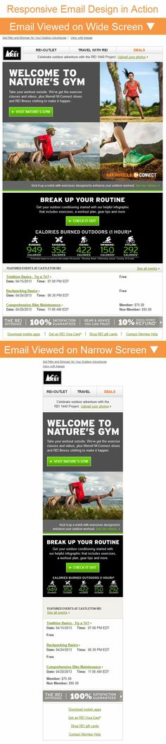 REI >>  sent 3/21/2013 >> This email for REI is a great example of responsive design when viewed on a mobile device. In this instance, you can see it in action if you drag the browser window to the left. - Laura Early, Associate Designer