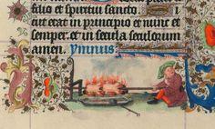E' pronto il pranzo! Miniatura tratta dal 'Libro d'Ore di Catherine de Clève' (1440), The Morgan Library & Museum, New York.