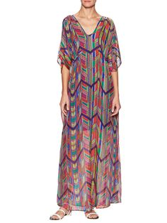 Ella Moss Aztec Geo-Tribal Print Silk Printed Side Tie Caftan Maxi Length with dolman sleeves