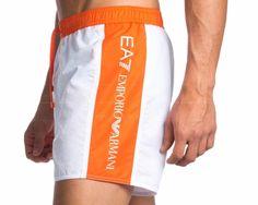 Bañadores hombre Armani - Blanco Bermudas Shorts, Joggers Outfit, Mens Joggers, Casual Shorts, Sports Jersey Design, Boxer Pants, Mens Swim Shorts, Casual Wear For Men, Man Swimming