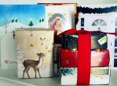 DIY  Christmas Card Boxes  TUTORIAL   What do you do with all of your Christmas Cards after the holiday is over?  Instead of throwing them out, Why not recycle them into great little gift boxes.  ~TheWickerHouse Blog