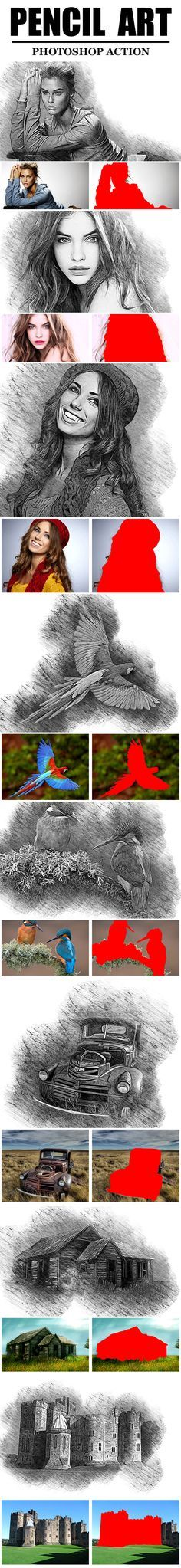 Pencil Art Photoshop Action #sketch • Download ➝…