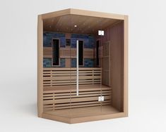 hoek infrarood sauna gemaakt van Canadees Red Cedar hout Cabine Sauna, Traditional Saunas, Portable Sauna, Steam Sauna, Sauna Room, Spa, Infrared Sauna, Second Floor, Shelves
