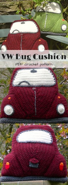 VW Bug pillow cover crochet pattern. PDF download of this funky cushion cover for a Volkswagen fanatic. #ets #ad