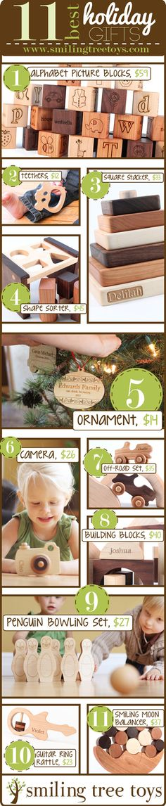 top Smiling Tree Toys holiday gift ideas // handmade, wooden, heirloom gifts for all // via the Smiling Tree Toys blog http://smilingtreetoys.com/blogs/smiling-tree-blog/13627935-2013-smiling-tree-toys-holiday-gift-guide