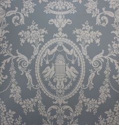 1920's Antique Vintage Wallpaper Victorian Blue Lovebirds--made In England