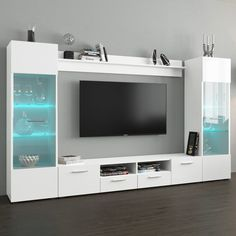 Modica Modern Wall Unit Entertainment Center - Modern Wall Unit / Entertainment Console / Entertainment CenterHigh gloss fronts with matte color LED light system included with color control and on/off remoteManufactured in and imported . Tv Unit Furniture Design, Tv Unit Interior Design, Modern Tv Room, Modern Tv Wall Units, Modern Wall, Modern Contemporary, Tv Unit Decor, Tv Wall Decor, Tv Wanddekor