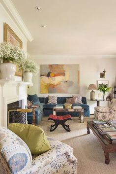 traditional living room design with traditional furniture and white fireplace design, colorful living room design with navy sectional sofa and traditional home decor Home Living Room, Living Room Designs, Living Room Furniture, Living Room Decor, Living Spaces, Furniture Stores, Small Living, Modern Living, Transitional Living Rooms