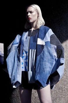 Tune in to Threadhead TV for denim upcycle how-to's. ~elina priha varsity collection from recycled denim « Outi Les Pyy Fashion Details, Look Fashion, Fashion Show, Fashion Design, Net Fashion, Fashion Today, Ropa Upcycling, Filles Alternatives, Estilo Denim