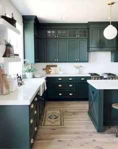 If you are looking for Green Kitchen Cabinets Design Ideas, You come to the right place. Here are the Green Kitchen Cabinets Design Ideas. Green Kitchen Cabinets, Refacing Kitchen Cabinets, Built In Cabinets, Kitchen Cabinet Design, Painting Kitchen Cabinets, Diy Kitchen, Kitchen Decor, Kitchen Ideas, Dark Cabinets