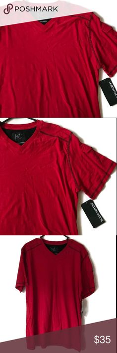 Men's Modern Culture Tee Cool, calm, collected and casual. Stroll into your date in this tee. One small pocket on the left sleeve giving it a unique look. Pair it with some black jeans and you've got a nice look! 😎 Brand new with tags  Color: Red  Size: XL Shirts Tees - Short Sleeve