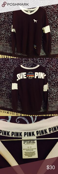 PINK Varsity Crewneck🍍 🐾 In like new condition!🐾 PINK crew neck 🍍 🍂 size : small 🍍 🐉PINK VS🐉 🌸 grunge 🌸 🎱welcome to my shop ! My names shy girl love if you have any questions please ask!🎱 $$ bundle to save money$$ 🚫no trades or lowball offers🚫 PINK Victoria's Secret Sweaters Crew & Scoop Necks
