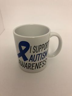 I Support Autism Awareness Ceramic Handmade Mug by NGBCraftsandSupplies on Etsy Autism Awareness, Blue Ribbon, Ceramics, Mugs, Tableware, Prints, Handmade, Etsy, Hand Made