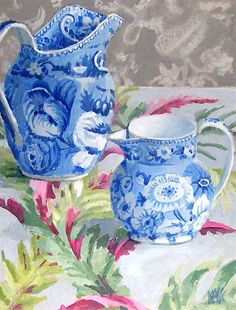 """Kaffe Fassett  Blue and White on Bark Cloth • 18"""" by 14"""" •"""