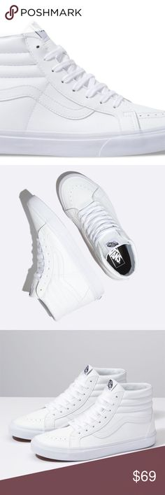 65bab9677f96c8 NEW VANS LEATHER CLASSIC TUMBLE SK8 HI REISSUE 6 VANS White Leather SK-8 HI