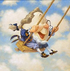 """Scott Gustafson Handsigned and Numbered Limited Edition Giclee on Canvas:""""Humpty Dumpty on Swing"""""""