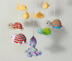 Baby Mobile Crochet Nursery Mobile Turtles by SimplyStitcheduk