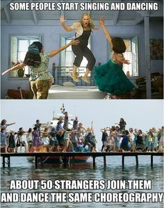 LOL. That's what musicals taught me growing up.. if I start singing a bunch of strangers with always join in