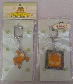 NIP 2 Piece Garfield Cat Metal Key Chains Key Rings Green Horse Toys Co Ltd