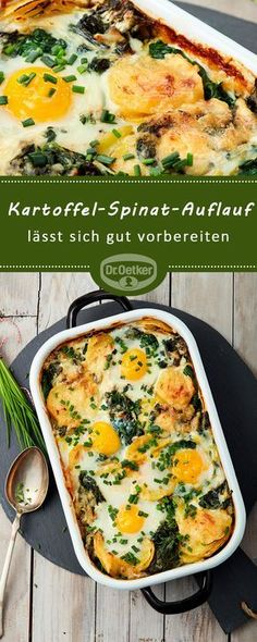 Kartoffel-Spinat-Auflauf Potato and spinach bake: potato gratin with spinach and cheese and fried egg - can be easily prepared Rezepte Spinach Gratin, Spinach Bake, Spinach Casserole, Spinach And Cheese, Casserole Recipes, Kohlrabi Gratin, Squash Casserole, Egg Recipes, Pasta Recipes