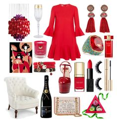 """""""Dash of Bold Red"""" by pulseofthematter ❤ liked on Polyvore featuring Valentino, Gucci, Moschino, Lanvin, Kenneth Jay Lane, The Body Shop, Dolce&Gabbana, NARS Cosmetics, Bungalow 5 and VerPan"""