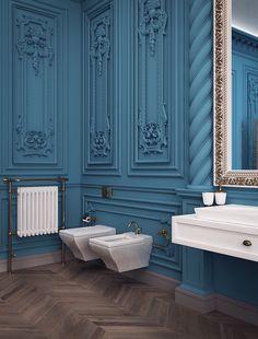 Gorgeous #bathroom style #bathroomideas #bathroomdecor #bathroomdesign #golddecor #bluewalls