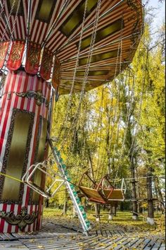 Abandoned swings at an old amusement park
