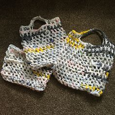 """Handcrafted market bags made out of """"plarn"""" plastic bags  $10.00 each"""