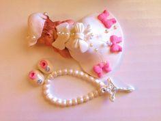This little girl will make your cake look great.  Baby Shower, Birthday, Baptism, Cake Topper, christening via Etsy