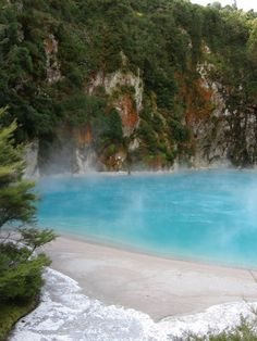 Inferno Crater Lake ~ Waimangu, North Island, New Zealand North Island New Zealand, New Zealand Beach, New Zealand Cruises, New Zealand Travel, Oh The Places You'll Go, Places To Visit, Amazing Places, Beautiful Places, Liquid Dreams
