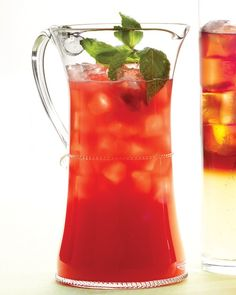 Watermelon Cooler - Muddle fresh mint with sugar to release its aroma before combining with fresh watermelon puree, ginger ale and vodka. Lemon juice and bitters add the perfect balance to this bracing summer punch. Watermelon Cooler, Watermelon Cocktail, Watermelon Recipes, Watermelon Punch, Cantaloupe Recipes, Refreshing Drinks, Summer Drinks, Fun Drinks, Mixed Drinks