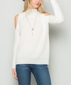 A mock neck with cut out shoulder a winning combo in my book!  Off-White Cutout Turtleneck Sweater #zulily #zulilyfinds