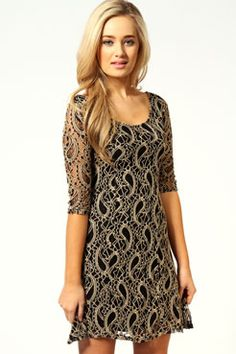 Linda 3/4 Sleeve Lace Skater Dress boohoo.com