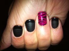 Black matte French manicure with pink accent nail