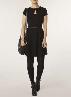 Photo 2 of Black keyhole belted dress