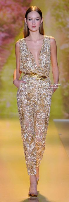 Omg, drooling over this jumpsuit! My two favorite things right now. Gold embellishments and jumpsuits in one.   Ri-Ri, Charlize Theron or Diane Kruger would own this.  Zuhair Murad Spring 2014 Haute Couture