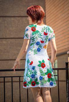"""Купить Авторское платье """" маковое поле """" - разноцветный, цветочный, летнее платье"""