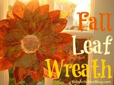 {Fall Color} Make this beautiful Fall Leaf Wreath Craft with your kids.